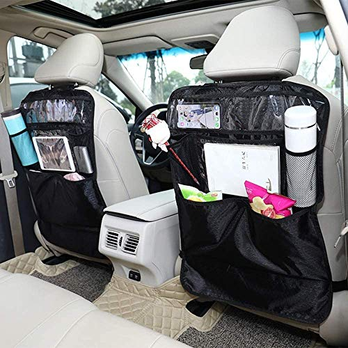 Fly YUTING 2 Pack Car Organisers Kick Mat, Auto Organiser Pockets, Waterproof Car Seat Back Protector Covers with Ipad/Tablet Holder
