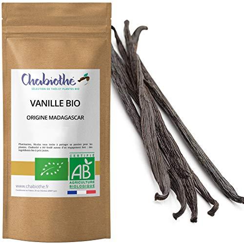 Chabiothé - 5 Gousses de Vanille Bio - 18 cm et 20g environ - Qualité Gourmet et sous vide