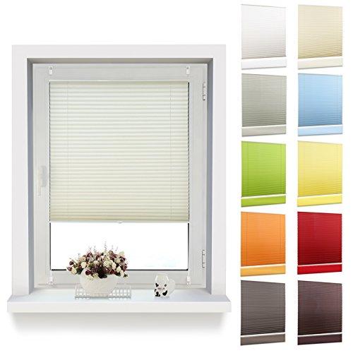 OUBO Plissee Klemmfix 35 x 120 cm (BxH) Beige, Jalousie Faltrollo ohne Bohren mit Klemmträgern für Fenster und Tur