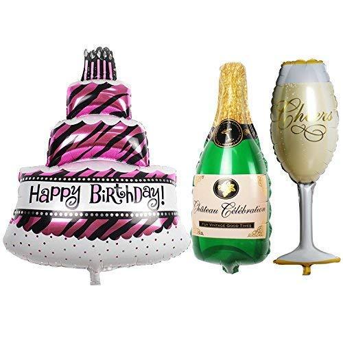 TRIXES Set da 3 Palloncini Grandi per Festa di Compleanno a Forma di Torta, Bottiglia di Champagne e Bicchiere.