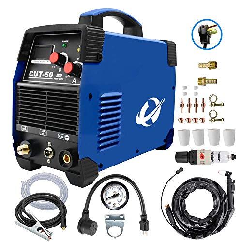 プラズマカッター、CUT50 50 Amp (100V/200V) デュアルボルテージ AC DC IGBT 切断機 LCD画面付き アクセサリーツール (ブルー) (青い)