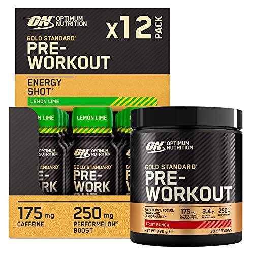 Optimum Nutrition Gold Standard Pre-Workout con Creatina Monoidrata e Caffeina Frutta Mista 330g 30 Porzioni + Pre-Workout Shot con Beta Alanina Vitamina B6 e B12 Limone Lime 12x60ml