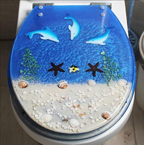 Lin-Yo Asiento de Inodoro,Tapa Anti-Bacterial WC Asientos de Inodoro Material de Resina Efecto 3D,Bisagra Ajustable Tapa de la Tapa Liberación Rápida,Instalación Fácil