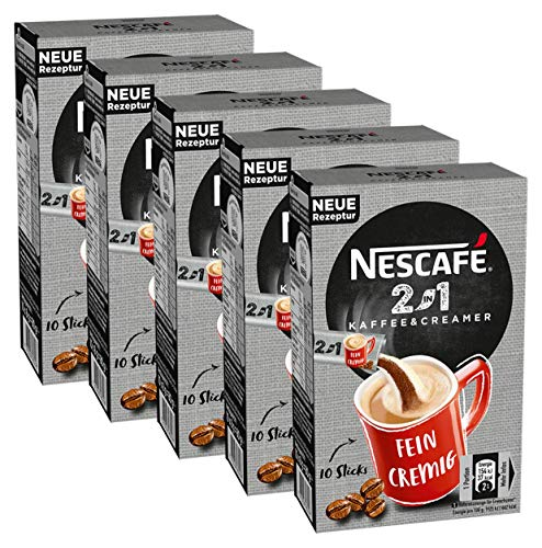 Nescafé 2-in-1 Sticks, löslicher Bohnenkaffee mit Kaffeeweißer, Instant-Kaffee aus erlesenen Kaffeebohnen, koffeinhaltig, 5er Pack (5 x 80g)