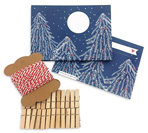 Adventskalender om zelf te vullen en zelf te maken voor volwassenen, set incl. 24 enveloppen, 10 m knutselsnoer en 24 houten mini-klemmen, blauw, rood, wit