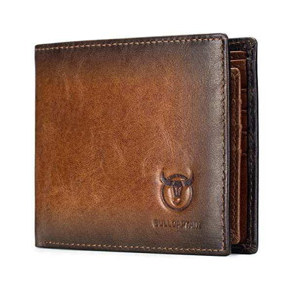 BULLCAPTAIN Wallets for Men with Double ID Window Slim Bifold Vintage Genuine Leather Front Pocket Wallet QB-05#3 2