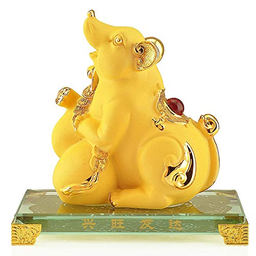 Xiaokeai Wealth Prosperity Statue Chinese Zodiac Rat Geomantic Ornament Wealth Prosperity Statue Home Decoration Attract Wealth and Good Luck Feng Shui Decor Feng Shui Decoration
