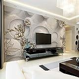 Pared de fondo de TV Fondo de pantalla de TV Fondo de pantalla estéreo en 3D sala de estar sofá sin costuras tela de pared atmósfera magnolia revest Papel Pintado Fotográfico Fotomural-150cm×105cm