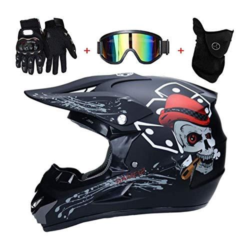 Casco De Motocross Niños con Gafas (4 Pcs) Casco Enduro Niños con Forro Extraíble, Pro Casco MTB Integral Cross Protecciones Moto para Quad Descenso Enduro Motocicleta (Size : XL(58~59cm))