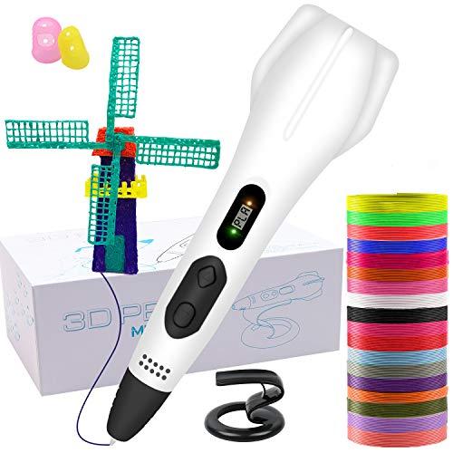 GLKEBY Bolígrafo de impresión 3D, con filamento de 18 Colores, Cambio automático Manual de impresión de 6 velocidades, Compatible con PLA y ABS, Regalos de Juguetes de Navidad para niños (3D Pen)