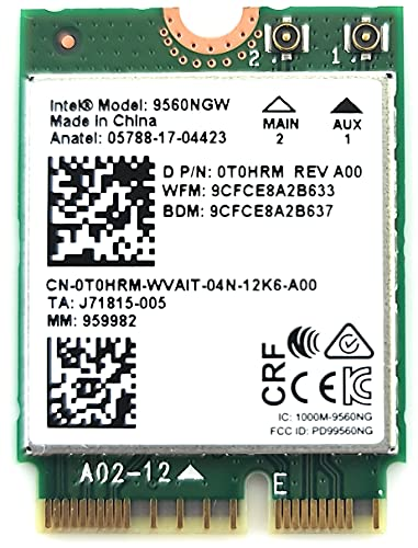 Intel Wireless-Ac 9560 - Tarjeta de red, M.2 2230, 2X2 Ac+Bt, Gigabit, No Vpro