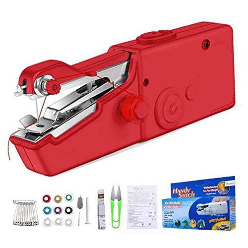 Mini Máquina de Coser Manual, 18 Piezas, Máquina de Coser Eléctrica, Portátil, Puntada Rápida y Manejable Para Tela, Para Uso Doméstico y de Viaje (Red)