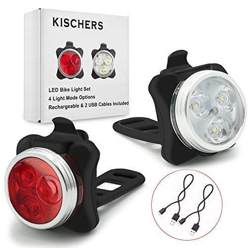 KISCHERS Luci Bici LED, Luci per Bicicletta Anteriore e Posteriore Ricaricabili, 4 modalità, 2 Cavi USB Incluso