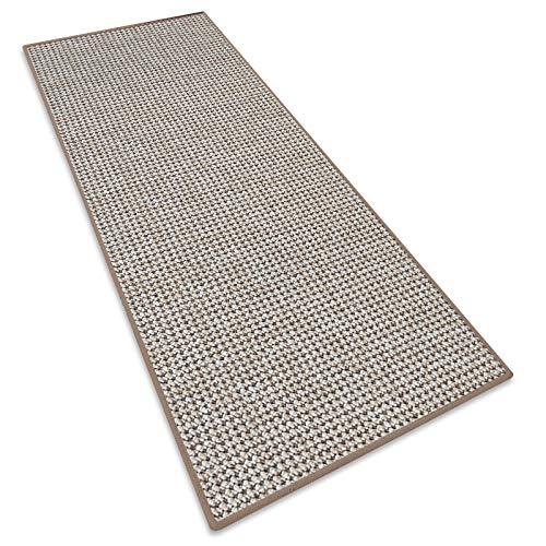 Teppichläufer Grandeur |Teppichläufer Meterware |für Wohnzimmer, Flur, Büro, Schlafzimmer, Küche, Esszimmer | gekettelt | mit Stufenmatten Kombinierbar |Viele Farben | Viele Größen (Beige, 80x200 cm)