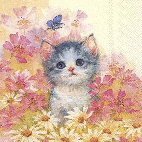 20 Servietten Katze im Blumenfeld als Tischdeko für den Frühling, Sommer und Herbst 33x33cm