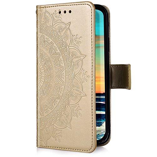 Uposao Kompatibel mit Samsung Galaxy M20 Hülle Handytasche Handyhülle Mandala Blumen Muster Klapphülle Flip Case Cover Schutzhülle Lederhülle Brieftasche Leder Tasche Kartenfach,Gold