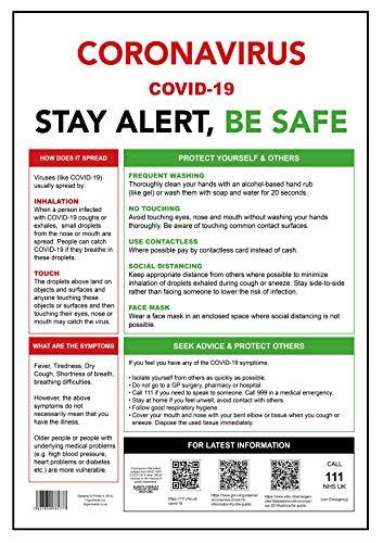TrigonMedia Coronavirus, COVID-19, STAY ALERT - BE SAFE, A3 (set di 4) Poster per la vostra organizzazione, Business, Ufficio o Negozio