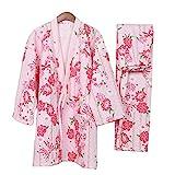 Pijamas de Estilo japonés Retro Grueso de Las Mujeres Pijamas de Kimono cálido Traje-Rosado