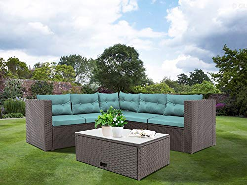 Baner Garden K35-CH-CST-TF with All Weather Deep Seating 4 Piece Rattan Outdoor Furniture Set, Chocolate with Tiffany Blue Cushions