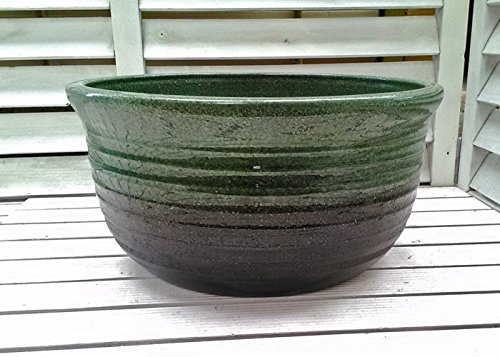 睡蓮鉢 HAS-S 11号 グリーン ビオトープ創りに 小さくて場所を選ばない睡蓮鉢 陶器製 水生植物 姫睡蓮やホテイ草に スイレン鉢 すいれん鉢 メダカ鉢 めだか鉢