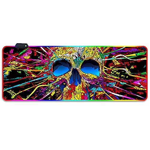 Qudodo RGB Gaming Mouse Pad,3D Skull Milky Way Honeycomb,Soft Oversized Glowing Extended LED Mousepad,14 Lighting Modes,Anti-Slip Rubber Base Computer Keyboard Mouse Mat,31.5×11.8 Inch (Color Skull)
