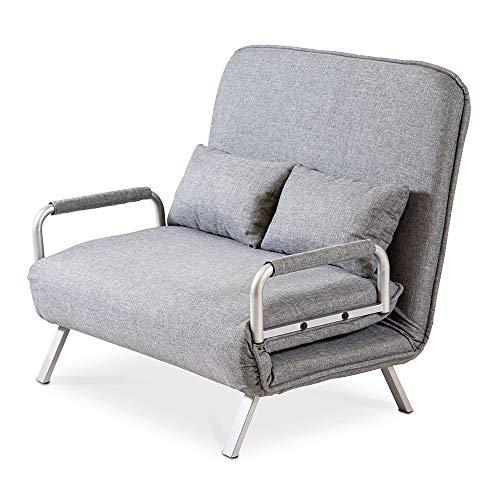 maxVitalis Schlafsofa mit Bettfunktion, Bettsofa mit Schlaffunktion, klappbar, extrabreite Liegefläche, inkl. 2 Kissen, 5-Fach verstellbare Rückenlehne, strapazierfähiger Bezug, modernes Design
