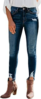Womens Ripped Skinny Jeans Distressed Destroyed Slim Fit Stretchy Trendy Denim Pants