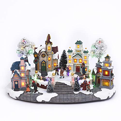 Light-Up Musical Animated Christmas Village Town Square Scene with Ice Skater and Villager Figurines - Lighted Vintage Holiday Decoration – Winter Tabletop Home Decor