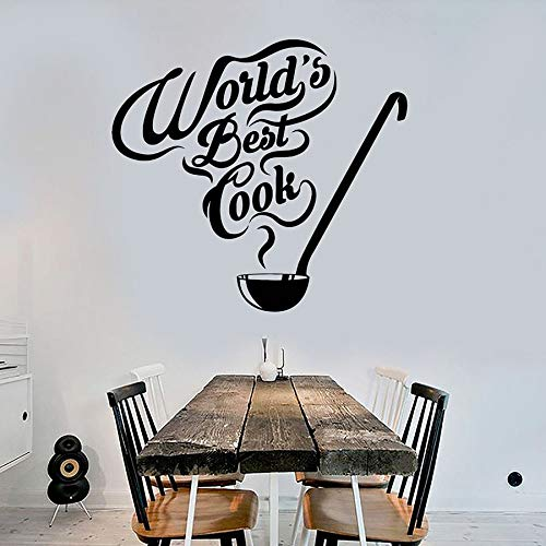 HFDHFH El Mejor Chef del Mundo calcomanía de Pared Cita de Cocina Restaurante decoración de Interiores Chef Cocina Vinilo Etiqueta de la Pared Cuchara de Sopa Arte Mural