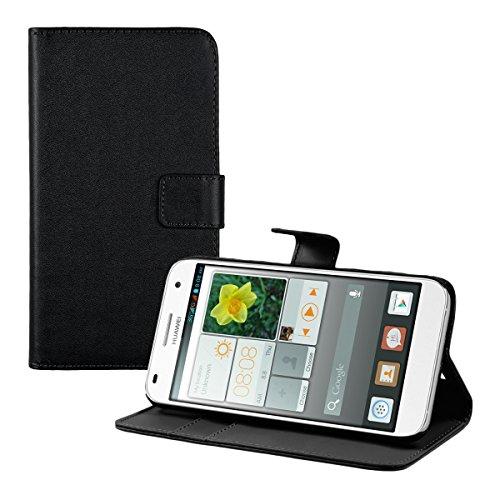 kwmobile Huawei Ascend G7 Hülle - Kunstleder Wallet Case für Huawei Ascend G7 mit Kartenfächern & Stand - Schwarz