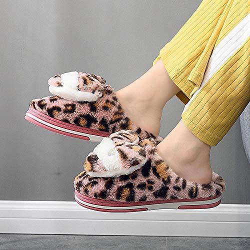 SWX-FlipFlop Zapatillas de algodón Estampado de Leopardo otoño e Invierno Interior cálido Medio Rosa 40/41
