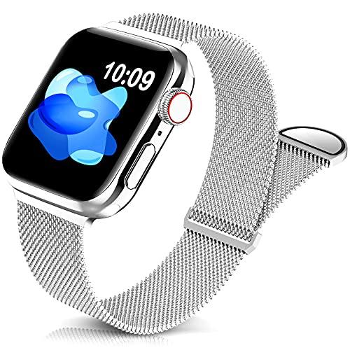Jiamus Metall Armband Kompatibel mit Apple Watch Armband 38mm 40mm 42mm 44mm,Klassisches Prämie Edelstahl Metall Mesh Armband mit Magnet mit iWatch Series 6 5 4 3 2 SE Damen Herren(38/40mm)(Patented)