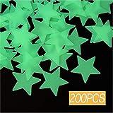 Estrellas Luminosas Pegatina,200 Piezas Pegatina Pared Fluorescente,Pegatinas de Pared Estrellas,para Niños Cama Habitacióno Regalo de Cumpleaños Brillan en la Oscuridad