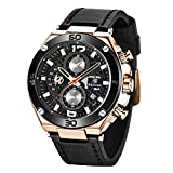 BENYAR Men Watch Quartz Chronograph Date 3ATM Waterproof Watches Business Sport Design Leather Strap Wrist Watch for Men Father (Rose Gold Black)