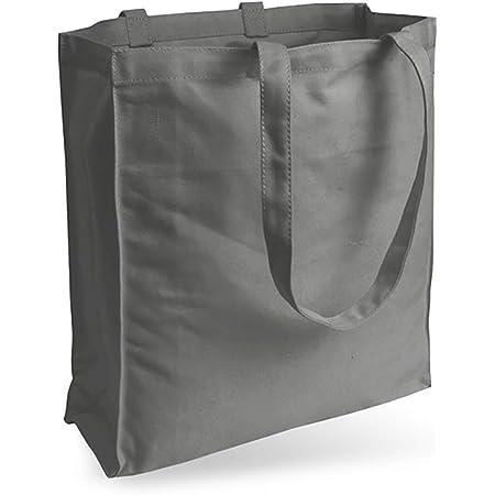 Cottonbagjoe Jutebeutel Canvastasche aus Jeansähnlichem Stoff (sehr robust und widerstandsfähig) unbedruckt mit Seiten-&Bodenfalte und Zwei Langen Henkeln 38x42x10cm (Grau)