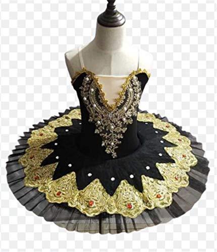 ZYLL Profesional de Ballet Ballet Tutús para niñas Niño Lago de los cisnes Vestido de la Danza de la Bailarina Ropa Pancake Figura Vestido de Patinaje,Negro,100CM