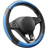 COFIT Couvre Volant Bleu et Noir Microfibre Cuir Diamètre M 37-38 cm