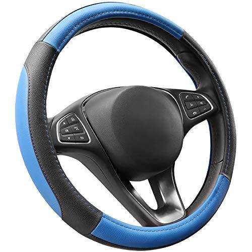 COFIT Cubierta de Volante de Cuero de Microfibra Negro y Azul M 37-38cm