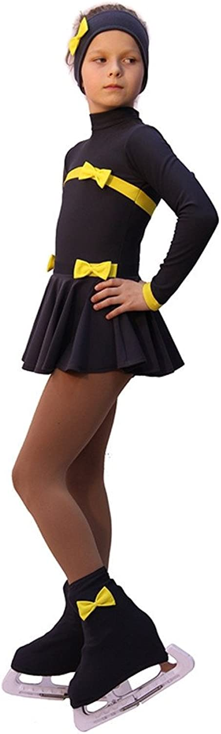 IceDress Figure Skating OutfitBows (Dark Grey and Yellow)