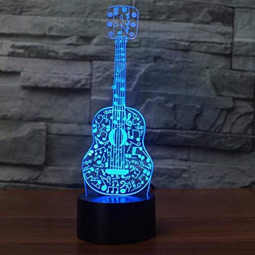 3D nachtlampje voor kinderen om te slapen, rek gitaar met muzieknoten vorm, LED-bureaulamp met kleurverandering, 7 kleuren