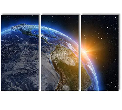QJQ Impressão de imagem de mapa-múndi 3 peças arte de parede em tela América do Sul ao nascer do sol, decoração de casa moderna, esticada e emoldurada, pronta para pendurar [91 cm L x 61 cm A]