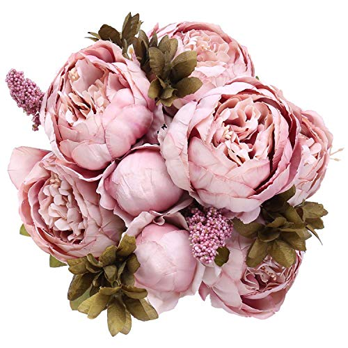 StarLifey Vintage Ramo de Flores de peonia Rosa, Artificiales, para Boda decoración para el hogar