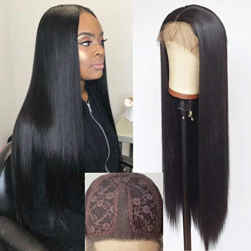 Waterfall Long Straight Synthetic Lace Front Wigs Heat Resistant Black Wig Natural Hair Wig For Women