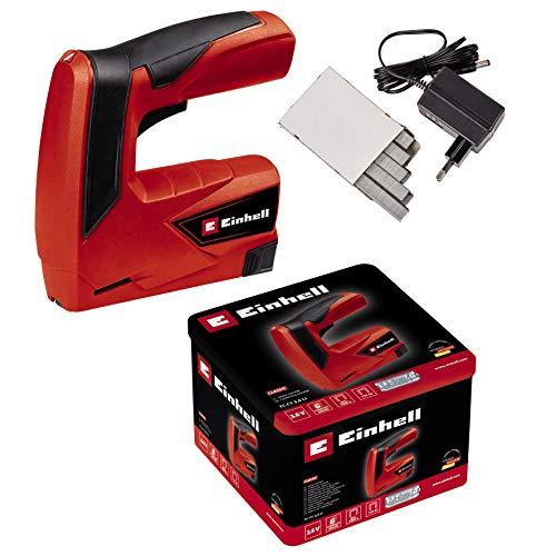 Einhell Agrafeuse électrique TC-CT 3,6 Li (Batterie 3,6 V / 1,3 Ah, Type d'agrafes : 53, Longueur des agrafes 6-14 mm, Poignée ergonomique, Livré en boîte métallique avec chargeur et 1000 agrafes)