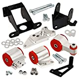 AJP Distributors For Honda Civic Si Fg Fa Fd Manual Billet Aluminum Engine Motor Mount Silver Red Polyurethane Bushing Upgrade Replacement