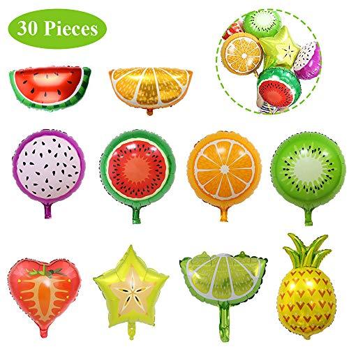 30 Piezas Globos de Frutas, Globos de Frutas Papel de Aluminio, Papel Aluminio Lindo Frutas Tropicales Globos para Decoración Cumpleaños, Decoración de Fiesta Temática de Frutas (10 Estilos)