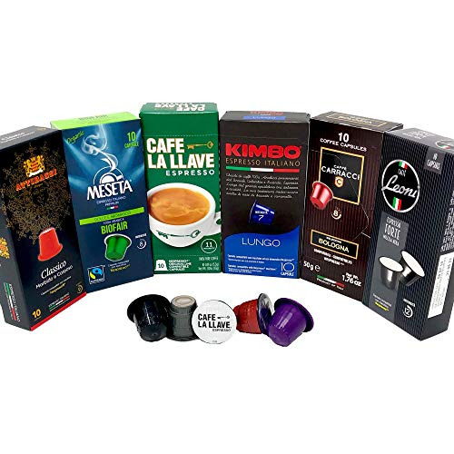 Nespresso Compatible Capsules Multi-Brand Variety Pack - Best Bundle Collection of Medium, Dark, Bold and Intenso Roasts Espresso Pods - 60 Pack - Brew Like Your Favorite Nespresso Capsules
