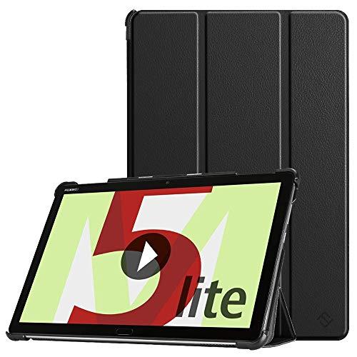 Fintie Hülle Hülle für Huawei MediaPad M5 Lite 10 - Ultra Dünn Superleicht Flip Schutzhülle mit Auto Sleep/Wake Funktion für Huawei MediaPad M5 Lite 10 10.1 Zoll 2018 Tablet PC, Schwarz