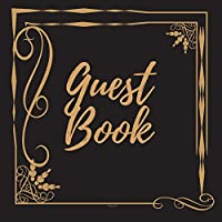 Guest Book - Gold Frame #3 -For any occasion -Light Green Color Pages - 8.5 x 8.5 Inches - 82 pages