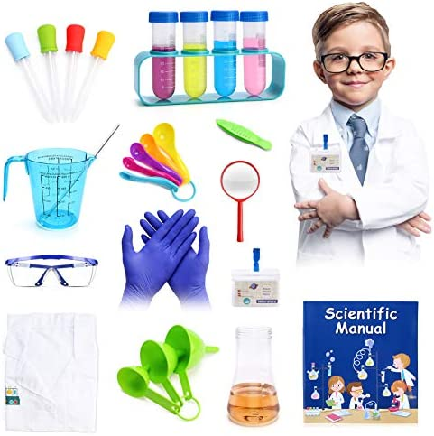 28pcs Science Lab Kit for Kids Boys 8 12 INKPOT Pretend Play Science Experiment with Lab Coat product image